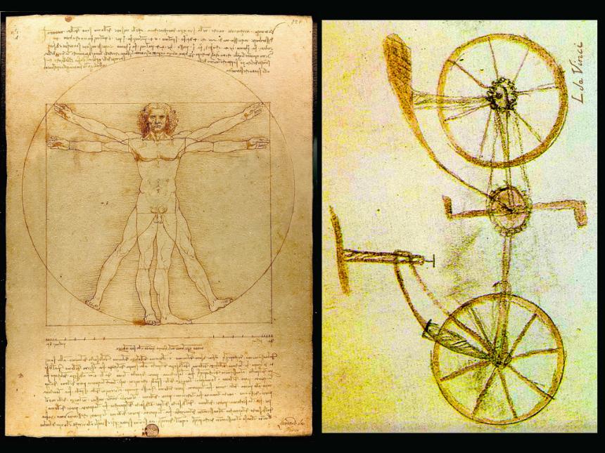 uomo vitruviano e bicicletta biomeccanica per il ciclismo