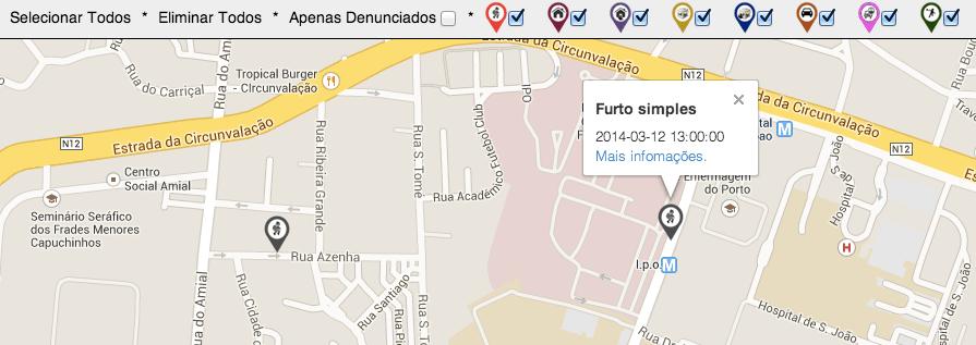 Zoom e filtros possíveis no Mapscrime