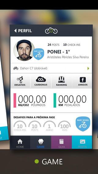 Bicicletando - Jogo na aplicação móvel