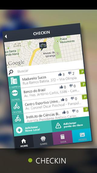 Bicicletando - Check-in na aplicação móvel