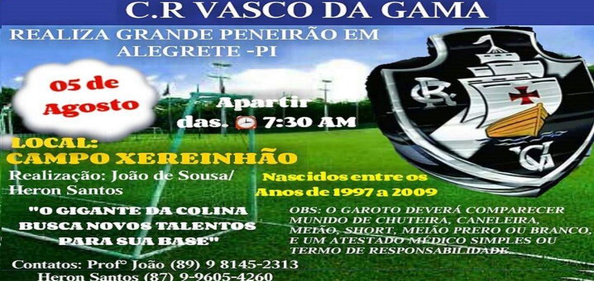 Clube de Regatas Vasco da Gama realizará 'Peneirão' em Alegrete do Piauí