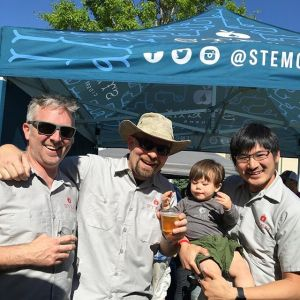 Ian Capps, head Cider Maker, Eric Foster, co-founder and CEO, Phil Kao, co-founder and his son Jasper.