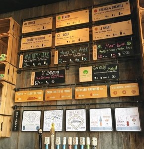 Stem Cider menu wall in Tap Room
