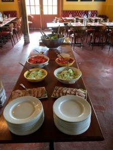 The lunch is ready for the tour group at Manior d'Apreval