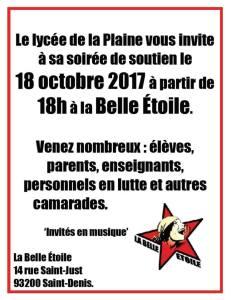 Soirée de soutien aux profs, élèves et parents du Lycée de La Plaine en lutte - mercredi 18 octobre - 18h @ La Belle Étoile | Saint-Denis | Île-de-France | France