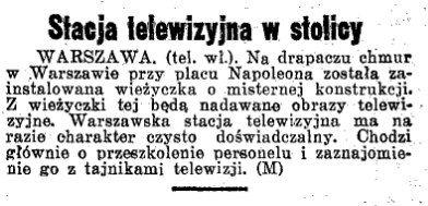 """""""Dziennik Ostrowski"""" z10 września 1938 informuje opowstaniu stołecznej stacji telewizyjnej."""
