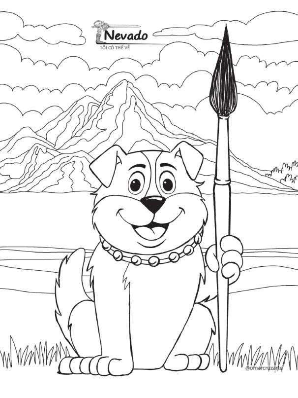 dibujos colorear perro nevado