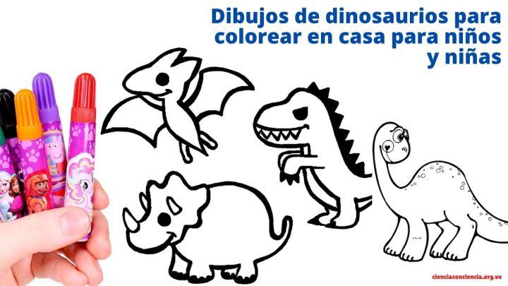 Dibujos de dinosaurios para colorear en casa para niños y niñas