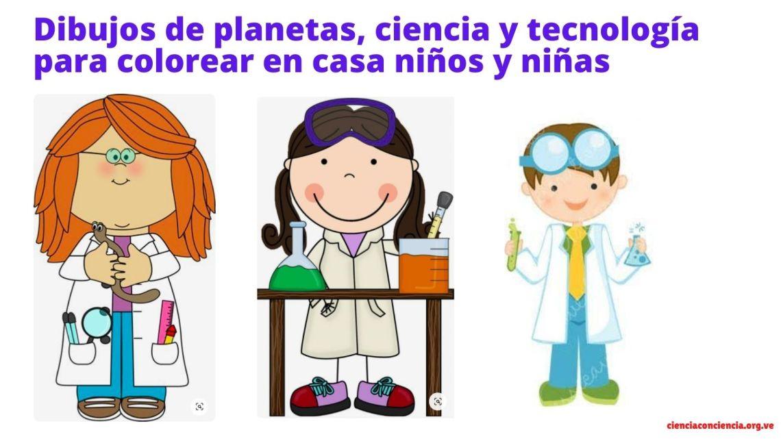 Dibujos de planetas, ciencia y tecnología para colorear en casa niños y niñas