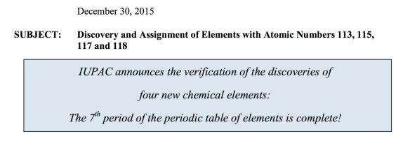 IUPAC Nuevos elementos
