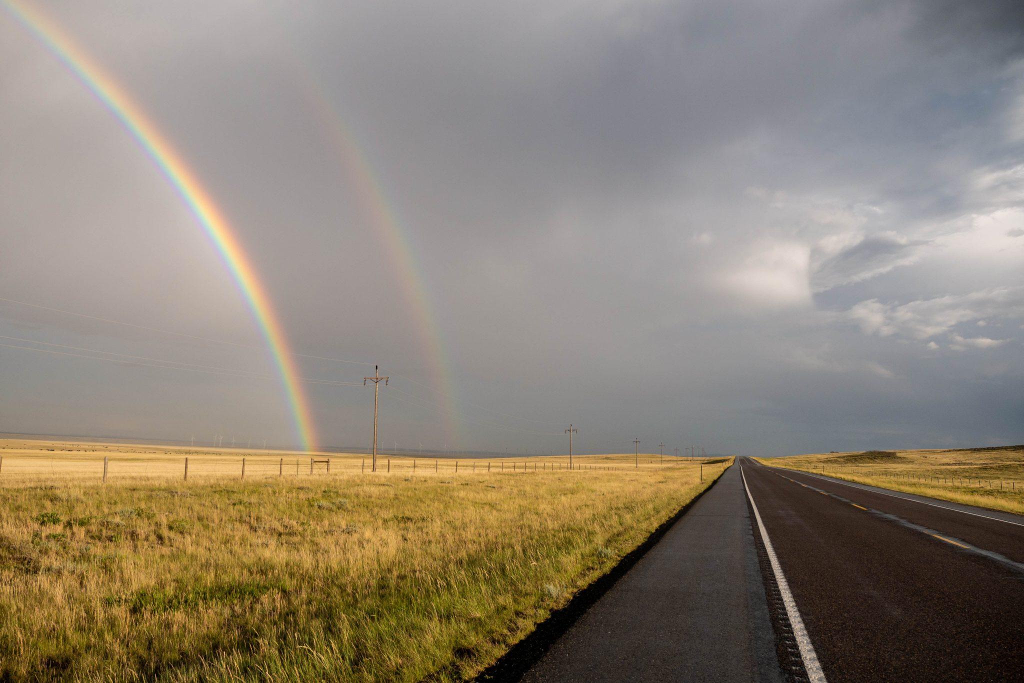Podwójna tęcza po deszczu w Wyoming :)