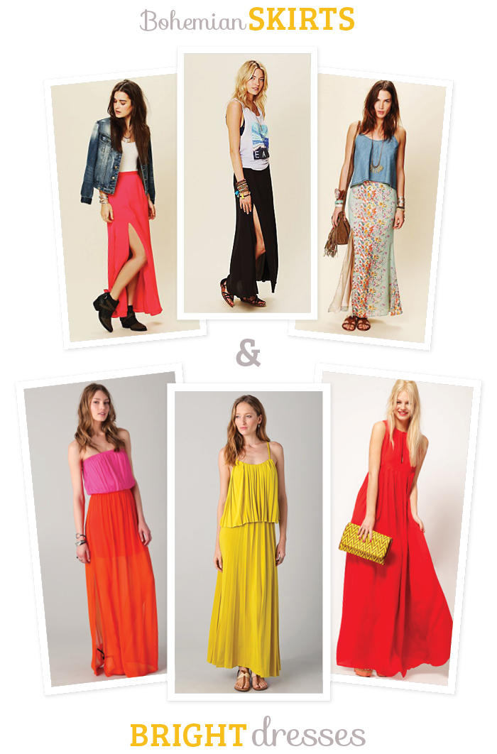 bright maxi dresses and bohemian maxi skirts