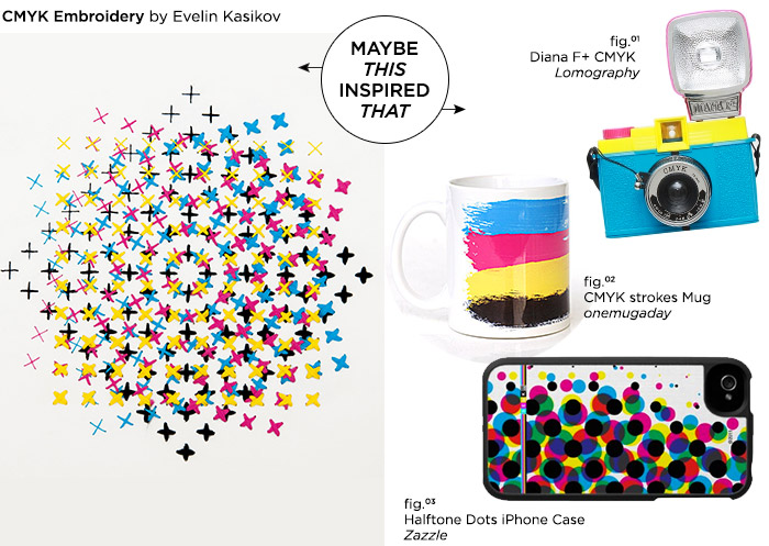 Maybe This Inspired That // CMYK Embroidery by Evelin Kasikov