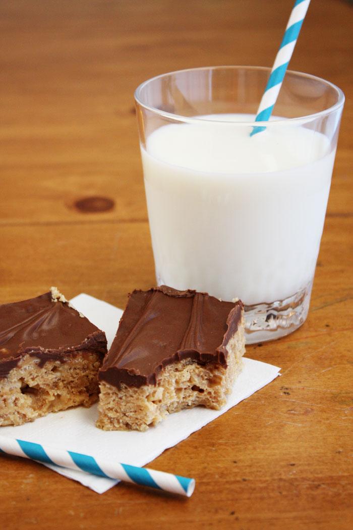 Peanut Butter Scotcheroos with Milk