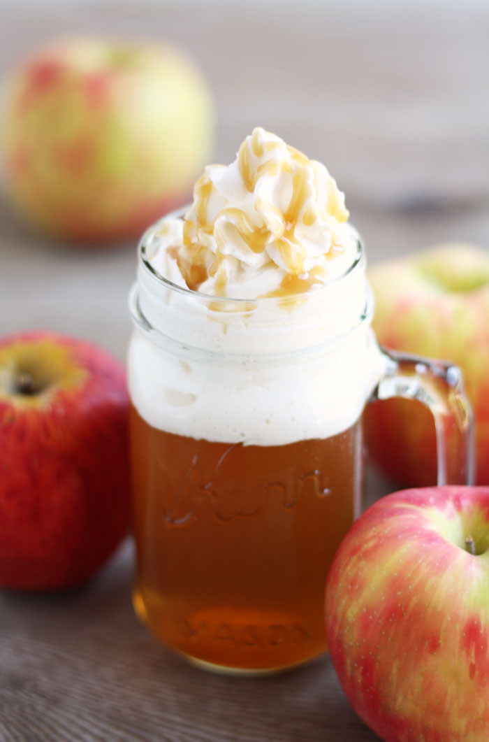 Caramel Apple Cider With Whipped Cream