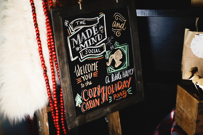 The Made In Mind Social Cozy Cabin Party Chalkboard Art