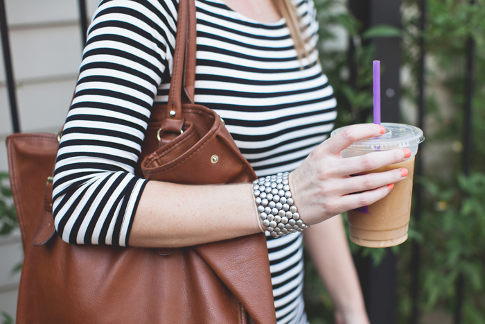 Striped Dress, Brown Leather Purse and Coffee
