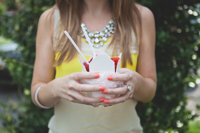 coral nails + jewel necklace + snoball