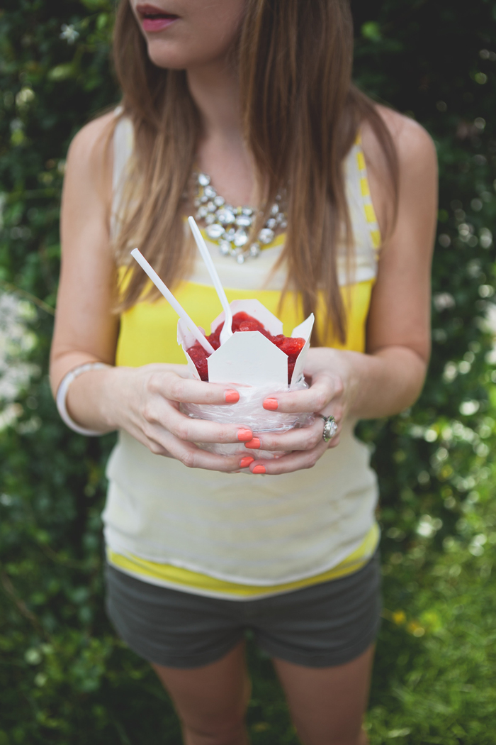 coral nails + yellow top + jewel necklace + snoball