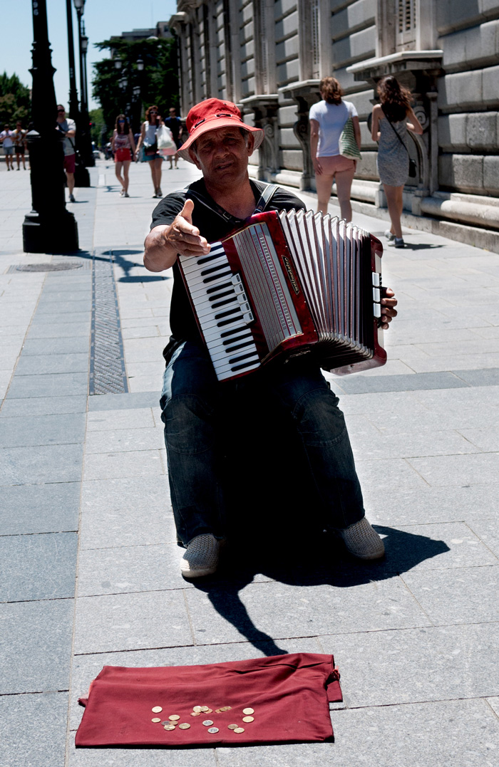 Accordian Player Royal Palace of Madrid Spain