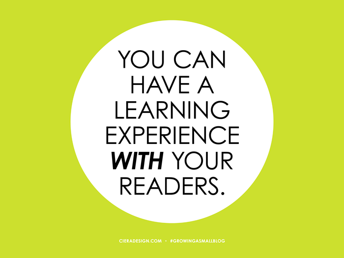 Have A Learning Experience With Your Readers
