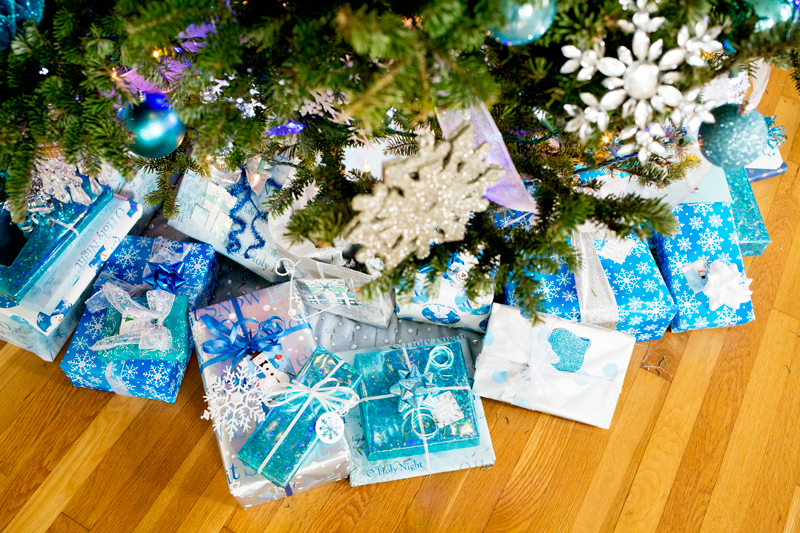 Blue Silver Christmas Presents