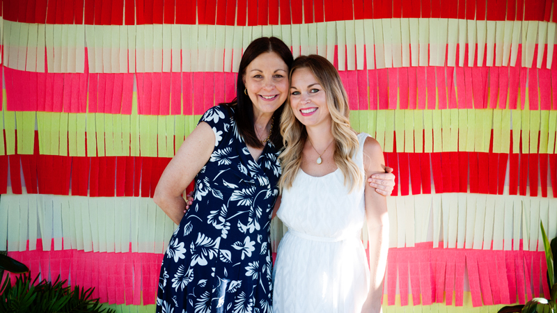 Mother and Daughter at Bridal Shower Photobooth