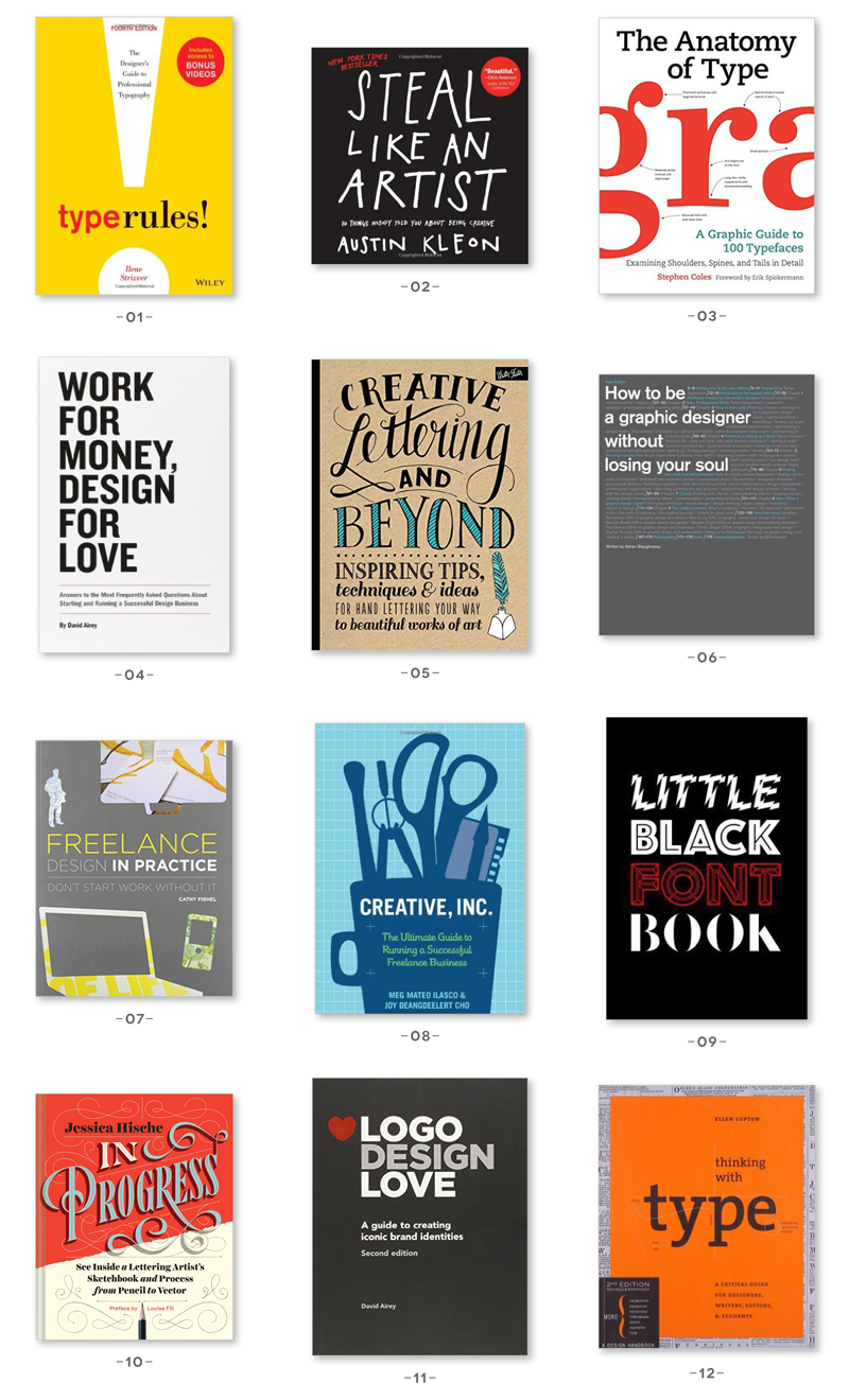 A Selection Of The Best Graphic Design Books Including Hand Lettering Fonts And Inspiration