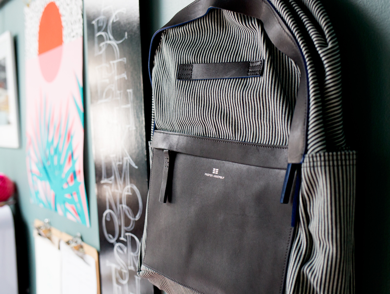 Stylish Microstripe Denim Backpack by Proper Assembly