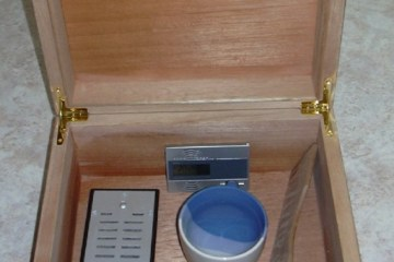 A humidor being prepared for use