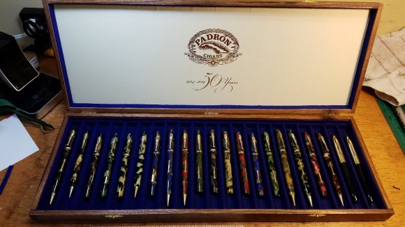 Padron 50th Anniversary 21 Pen Box open with pens