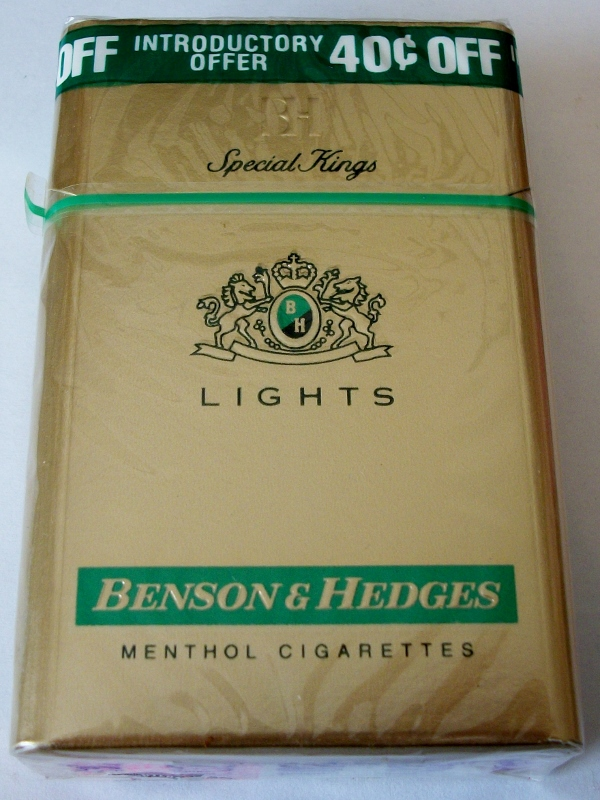 Benson and Hedges Special Kings Menthol Lights - vintage American Cigarette Pack