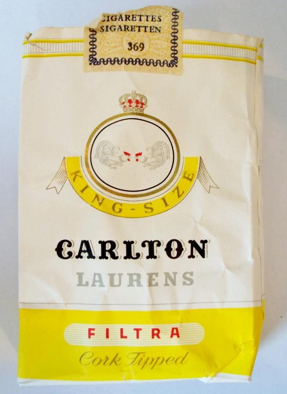 Carlton Laurens, King Size, Filtra Cork Tipped - vintage Dutch Cigarette Pack