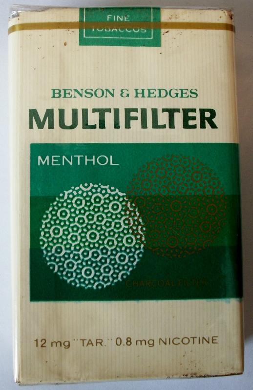 Benson & Hedges Multifilter Menthol, King Size - vintage American Cigarette Pack