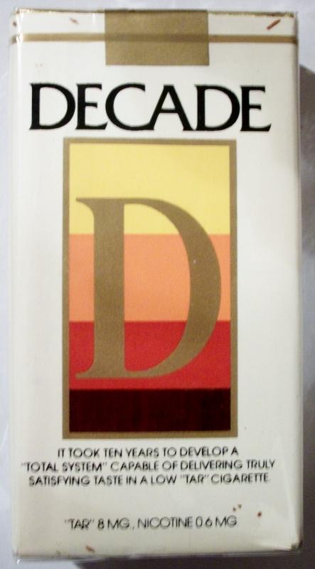 Decade 100mm - vintage American Cigarette Pack