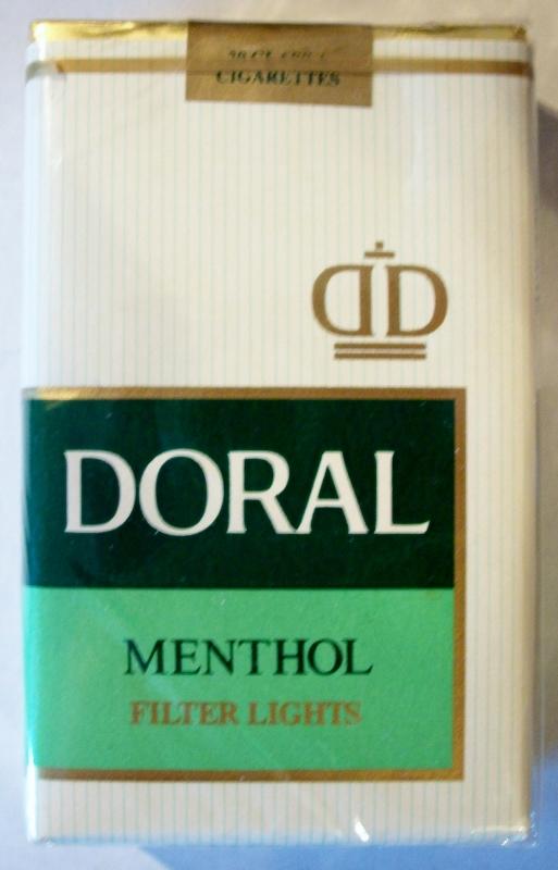 Doral Menthol Filter Lights, King Size - vintage American Cigarette Pack