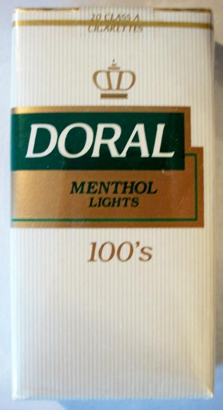 Doral Menthol Lights 100's - vintage American Cigarette Pack