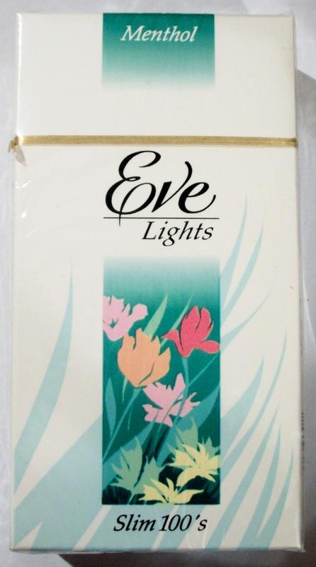 Eve Lights Menthol, Slim 100's box - vintage American Cigarette Pack