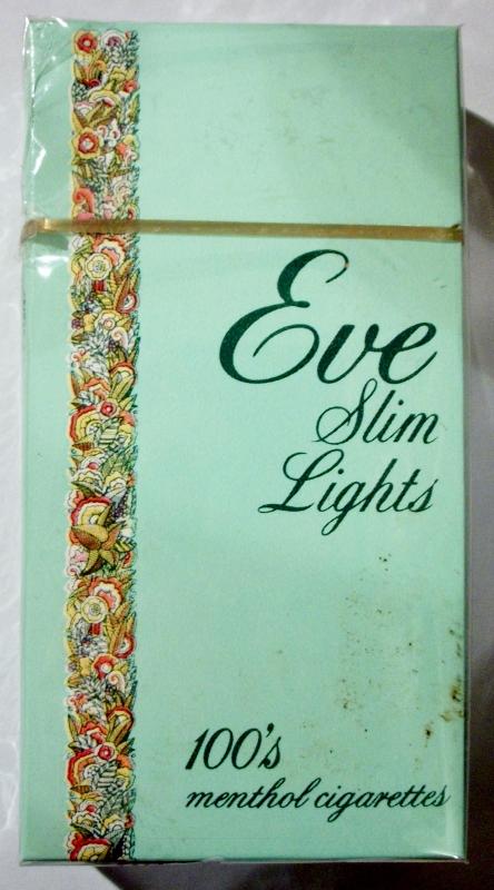 Eve Slim Lights 100's Menthol box - vintage American Cigarette Pack
