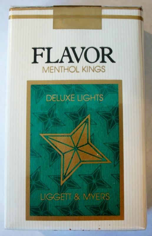 Flavor Menthol Kings, deluxe lights - vintage American Cigarette Pack