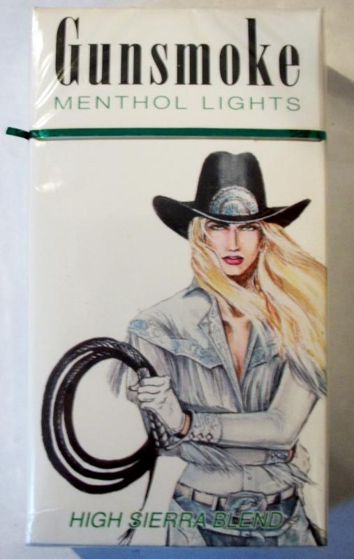 Gunsmoke Menthol 100's High Sierra Blend box - vintage American Cigarette Pack