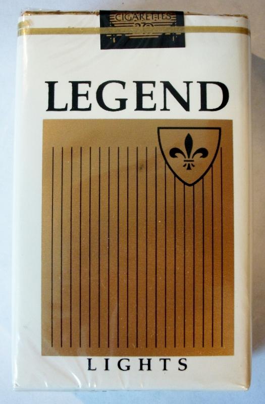 Legend Lights, King Size - vintage American Cigarette Pack