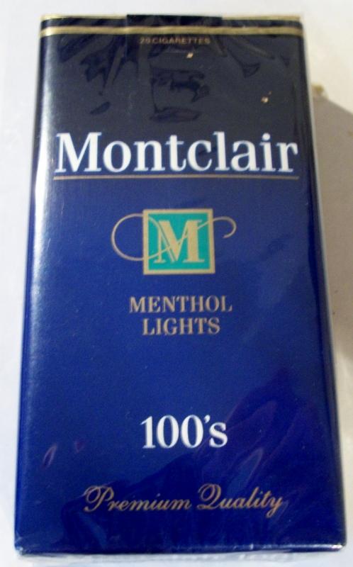 Montclair Menthol Lights 100's - vintage American Cigarette Pack
