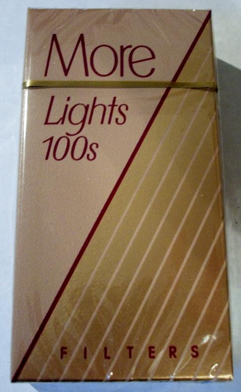 More Lights 100's Filters - vintage American Cigarette Pack