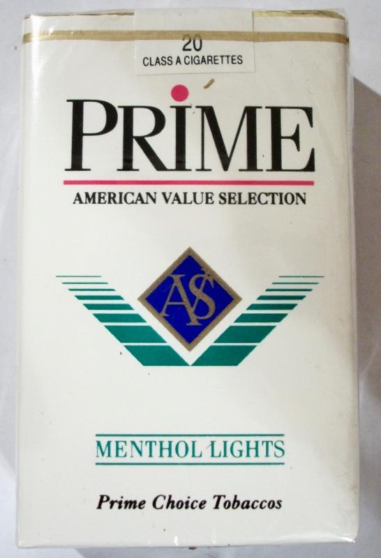 Prime Menthol Lights Flavor AVS, King Size - vintage American Cigarette Pack