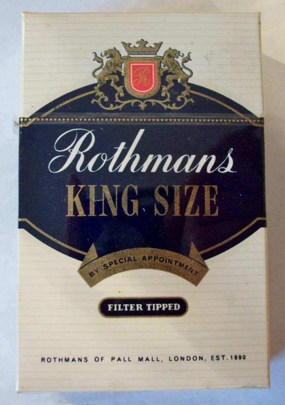 Rothmans King Size, Filter Tipped - vintage British Cigarette Pack