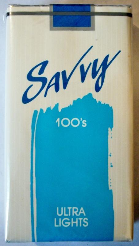Savvy 100's Ultra Lights - vintage American Cigarette Pack