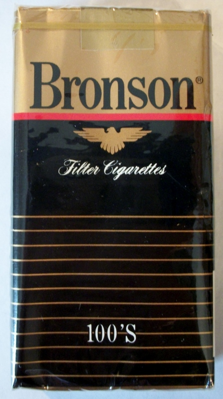 Bronson Filter 100's - vintage American Cigarette Pack (Iowa stamp)