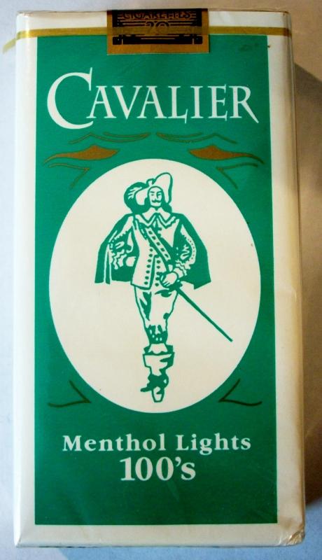 Cavalier Menthol Lights 100's - vintage American Cigarette Pack