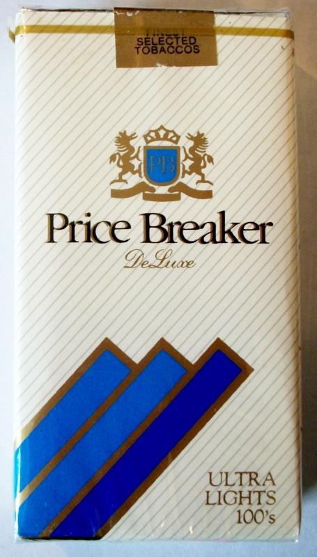 Price Breaker DeLuxe Ultra Lights 100's - vintage American Cigarette Pack